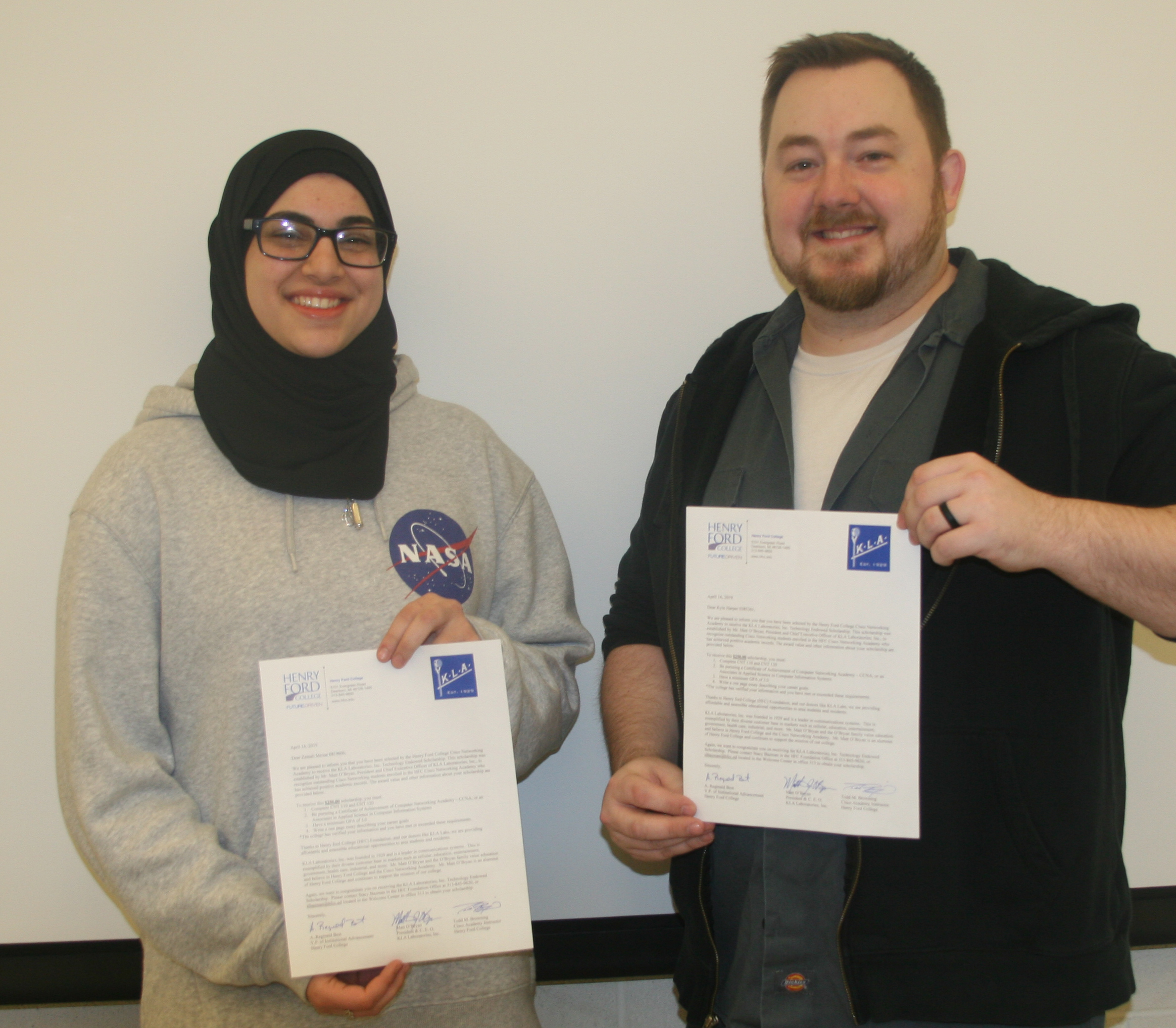 HFC students Zainab Mroue (left) and Kyle Harper (right) won scholarships from the KLA Endowment Scholarship Fund.