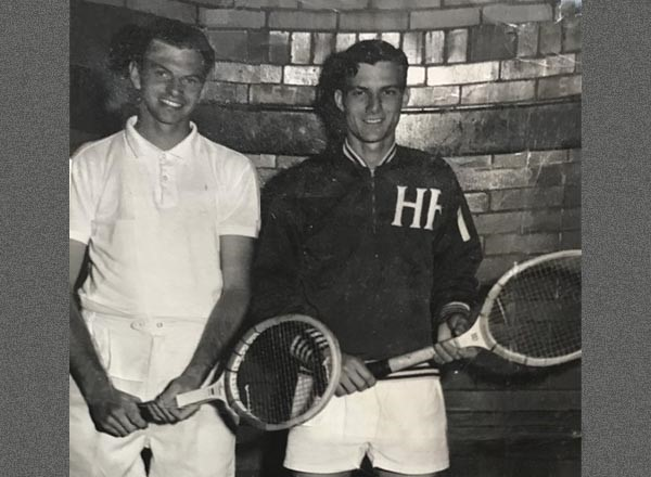 HFC alumnus William Bronner (left) was on the College's tennis team. He is pictured here with his doubles partner Aaron McDonald circa 1961.