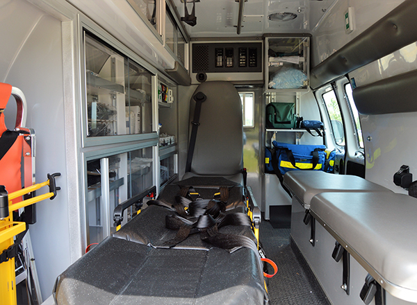The interior of the ambulance is exactly what students will see on the job.
