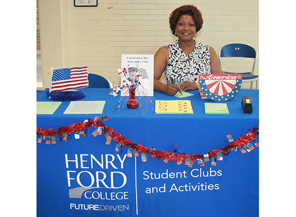 HFC Student Activities Officer Cassandra Fluker promotes the many clubs available at HFC.