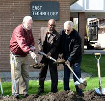 From L to R: MCCC President Emeritus Dr. Ronald Campbell (who got his start at HFC), current MCCC President Dr. Kojo Quartey, and former MCCC President Gerald Welch (an HFC alumnus) at the groundbreaking ceremony for the transformation of the East and West Technology Buildings at MCCC in 2019.