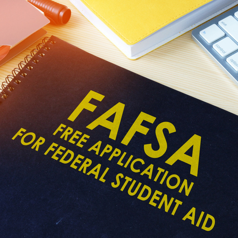 "Notebook with title ""FAFSA Free Application for Federal Student Aid"""