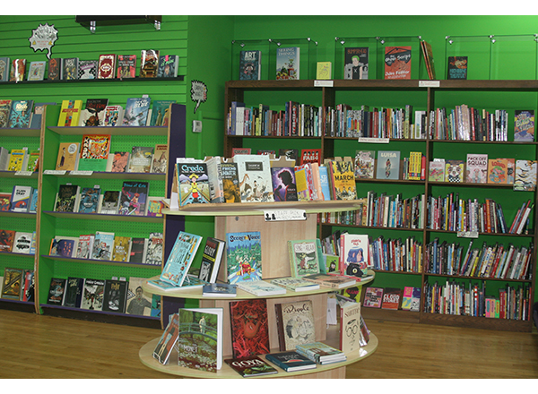 The display shelves at Green Brain Comics in Dearborn, which boasts a diverse selection of independent comics.