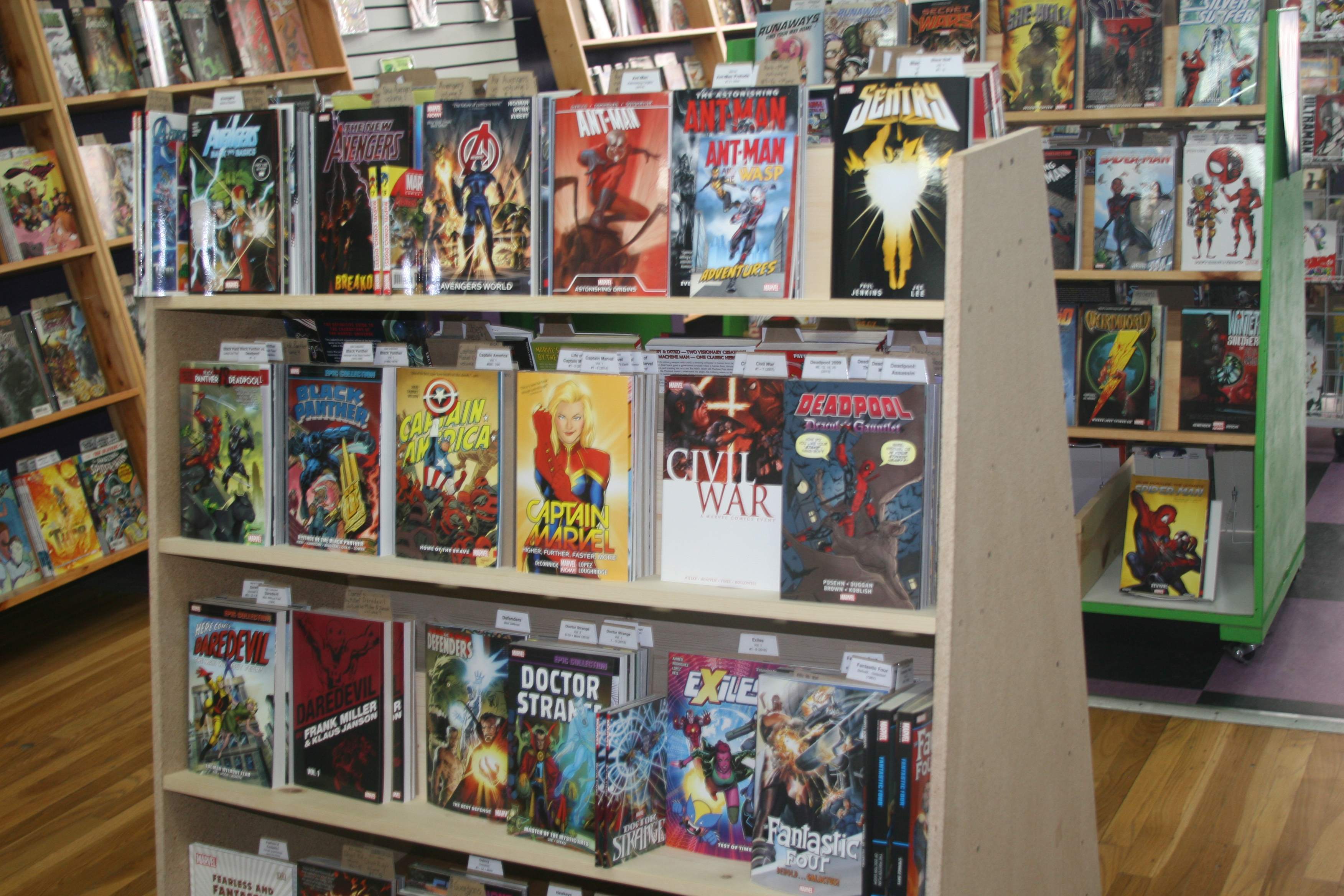 One of the display shelves at Green Brain Comics.