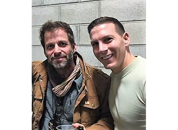 "HFC alumnus Jonathan Stanley (right) with ""Batman v. Superman: Dawn of Justice"" director Zack Snyder."