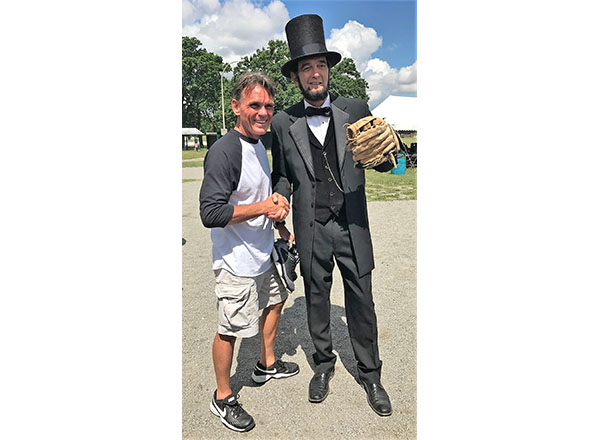Macomb County Executive Mark Hackell (right) and Abraham Lincoln (Ron Carley).