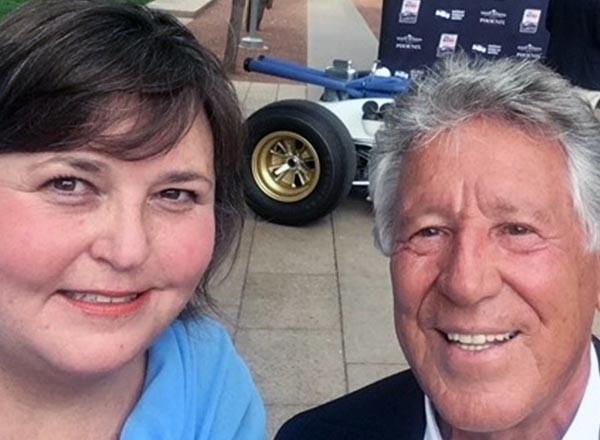 From L-R: HFC alumna Linda Conti and racing legend Mario Andretti.