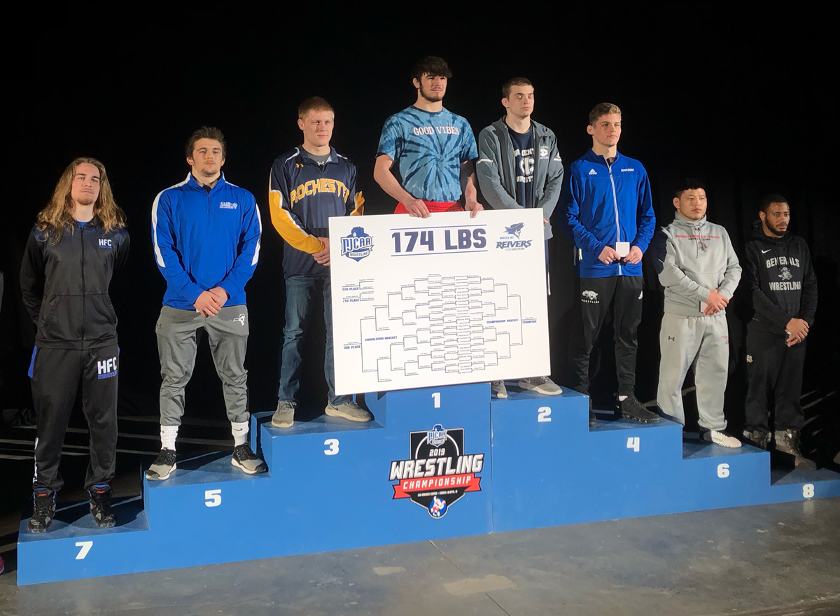 Dominic Mancina (far left) is recognized as the 7th place wrestler nationally.