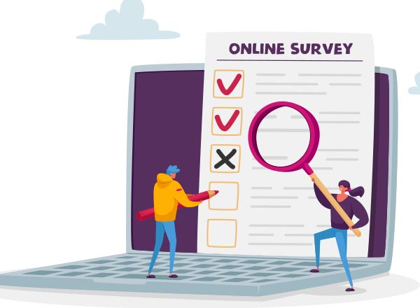 graphic of two individuals focusing on a computer and a survey