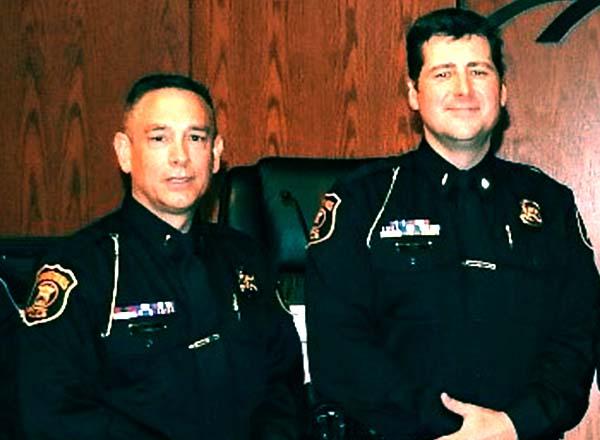 (L-R) Lieutenant Mark Rash and Lieutenant Michael Flatt of the Farmington Hills Police department are HFC alumni. Both men were recently promoted. Photo courtesy City of Farmington Hills.