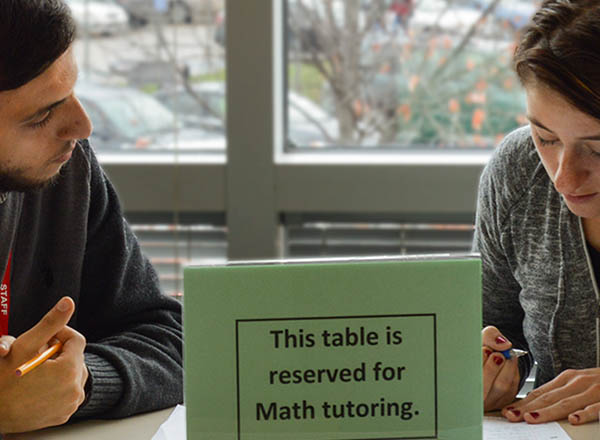 An image of two people studying.