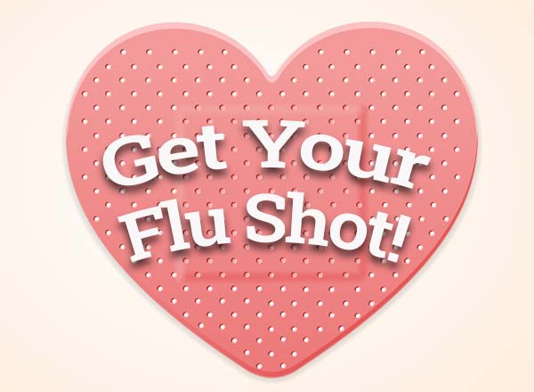 Get your flu shot! inside a band-aid heart