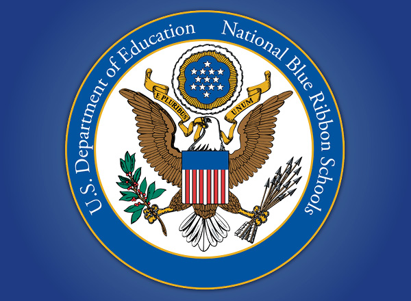 The U.S. Department of Education National Blue Ribbon School logo on a blue background.