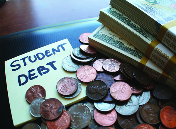 An image of loose change, a stack of money, and a post it note that reads Student Debt.