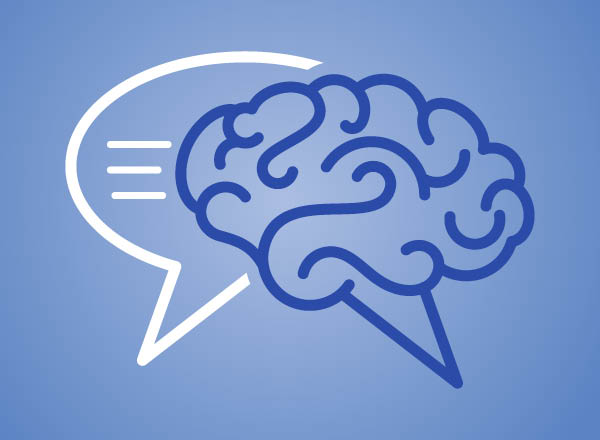 An illustration of a brain and speech bubble sign.