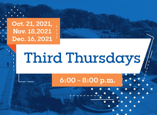 A blue and orange graphic for Third Thursdays with dates and time.