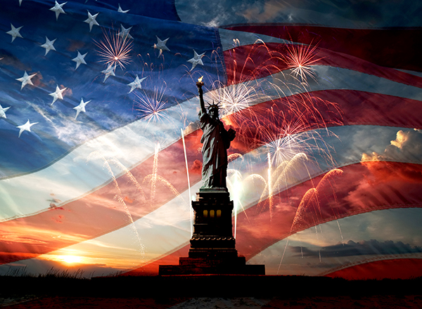 U.S. flag background, fireworks, Statue of Liberty