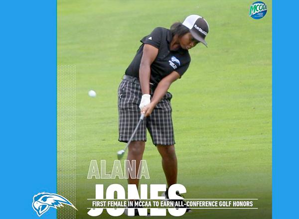 Alana Jones golfing (photo/graphic courtesy MCCAA)