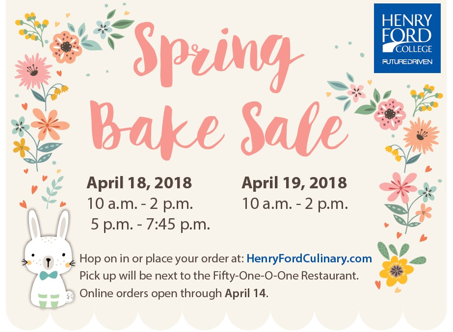 bake sale graphic with flowers and details
