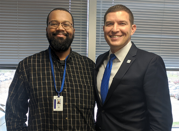"Roosevelt Belton (left) interviewed HFC President Russell Kavalhuna (right) on his new podcast, ""Lab Sounds,"" which focuses on student success at HFC."
