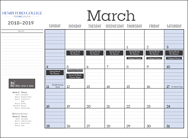 Image of March calendar with content in dates
