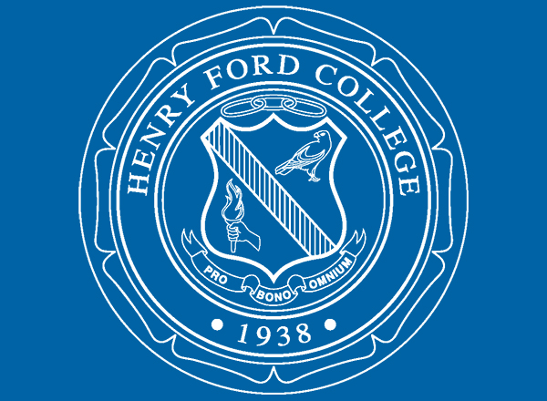 Henry Ford College seal on blue field