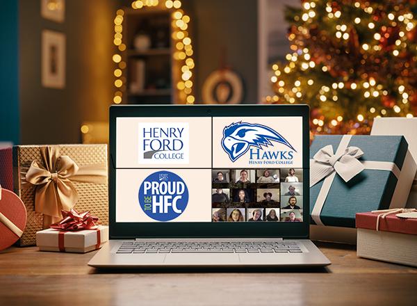 Christmas image - tree, gifts, computer