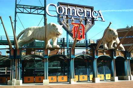 Photo of the front gate of Comerica Park