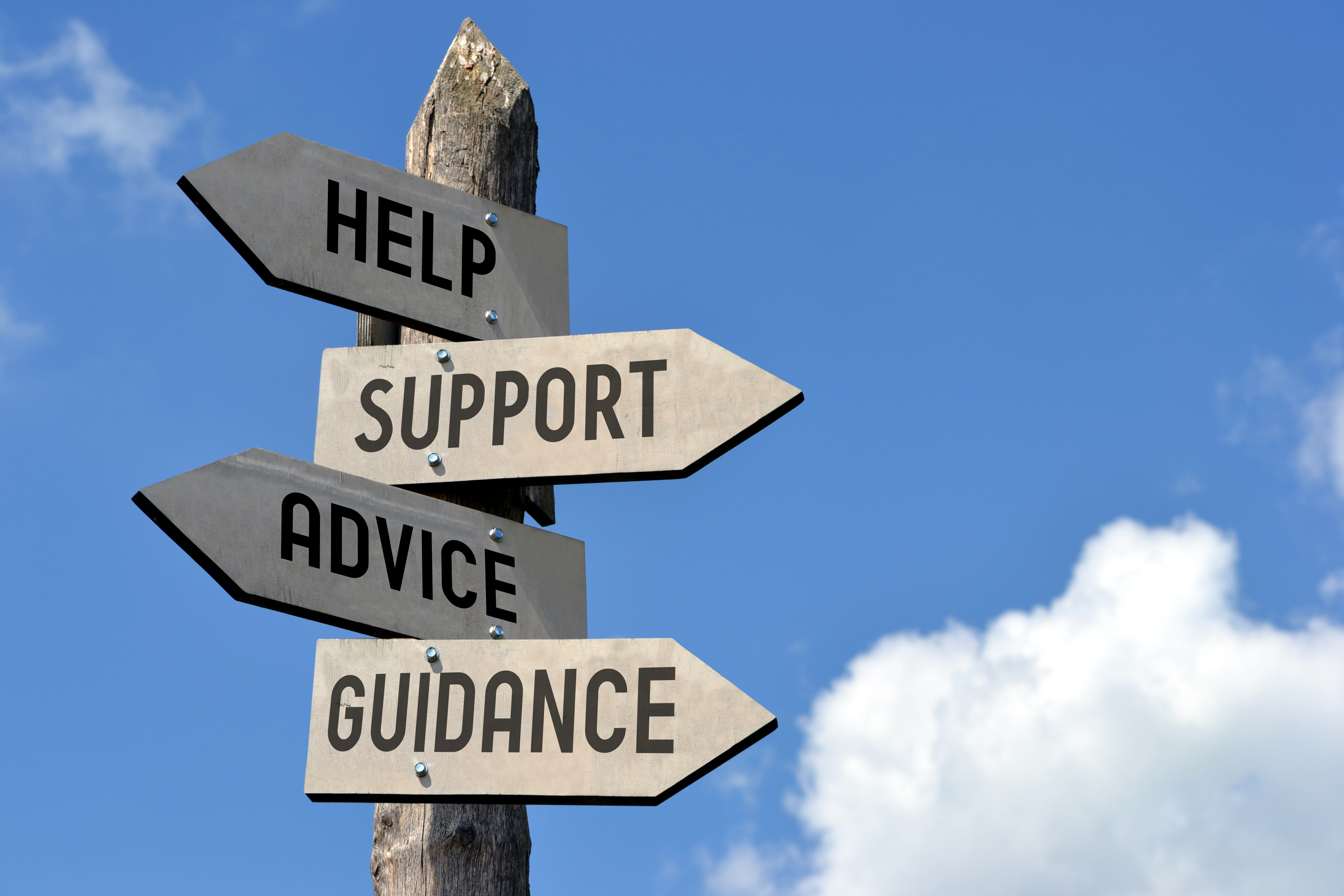 Sign indicating help, support, advice, guidance
