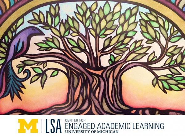 Artwork of tree, bird, and UM-LSA logo