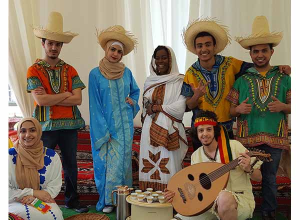 Group photo of students in Ethiopian clothes
