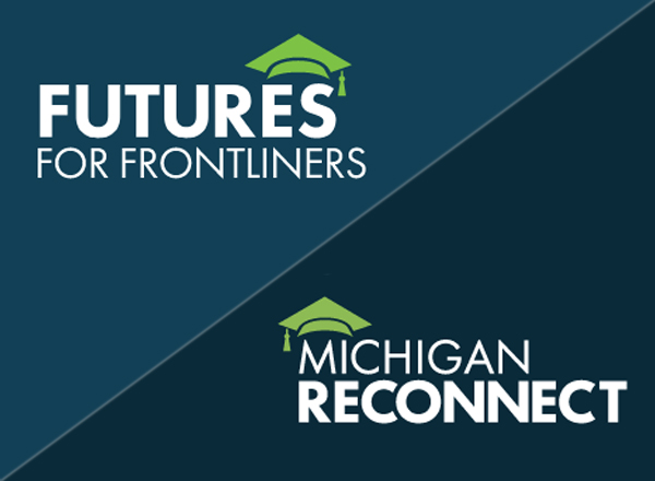 Futures and Michigan Reconnect logos on blue fields