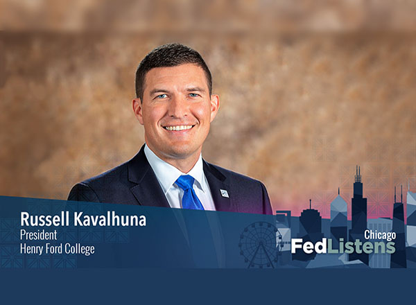 Fed Listens graphic with photo of President Kavalhuna