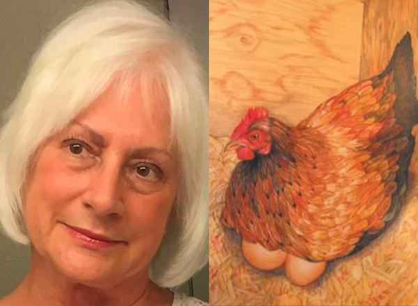 "Helen Gaus with ""Progeny"" artwork"