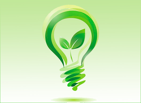 lightbulb with green plant as filament