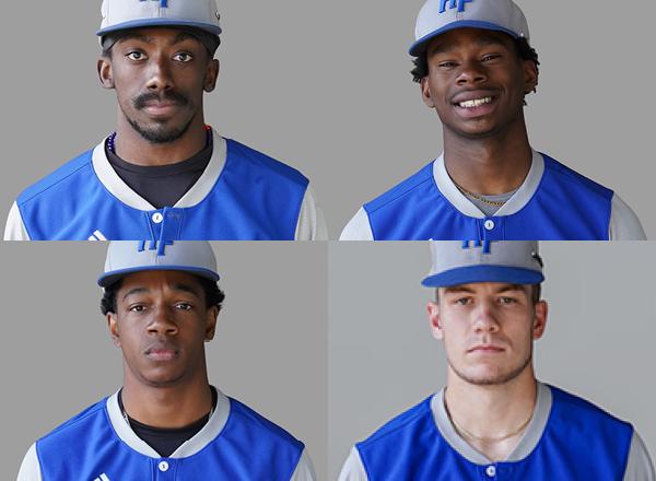 Headshots of four Hawk baseball players: Bobby Nichols, Jacoby Dale, Solomon McCants, and T.J. Potcova.