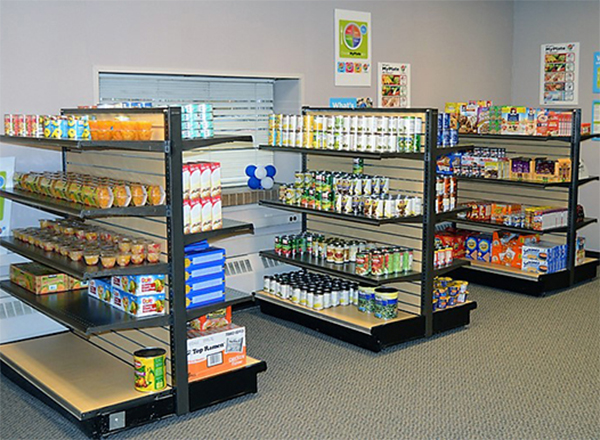 Hawks' Nest shelves with food and personal items