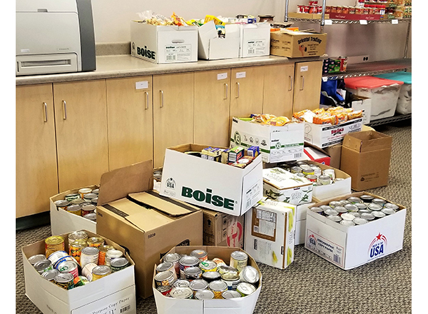 Boxes of canned goods/food items