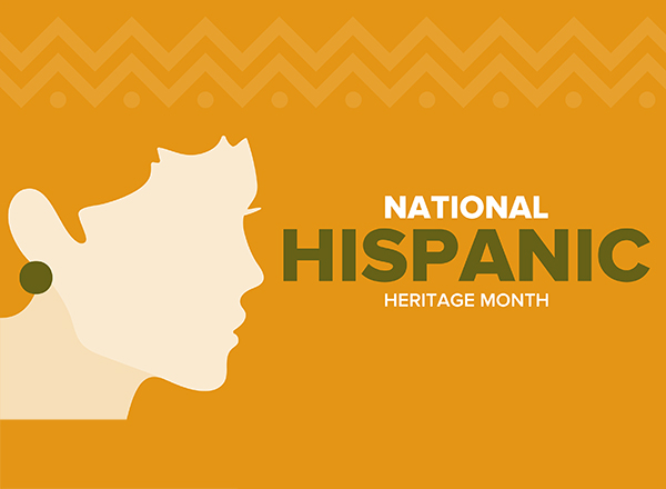 Graphic of silhouette next to the words National Hispanic Heritage Month