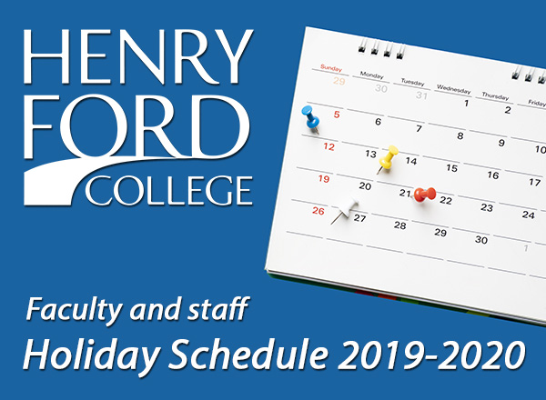 "HFC logo, calendar, ""Faculty and staff holiday schedule 2019-2020"""