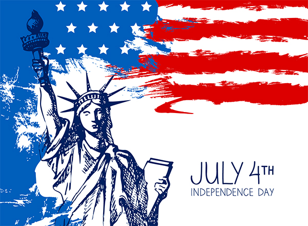 Artwork depicting American flag with Statue of Liberty overlaid; July 4th, Independence Day