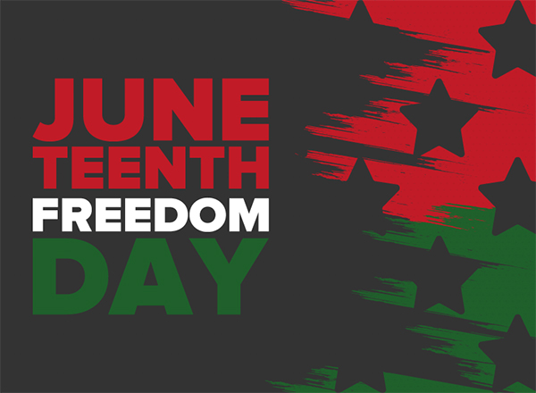 Juneteenth Freedom Day on a black field with stars and red and green accents.