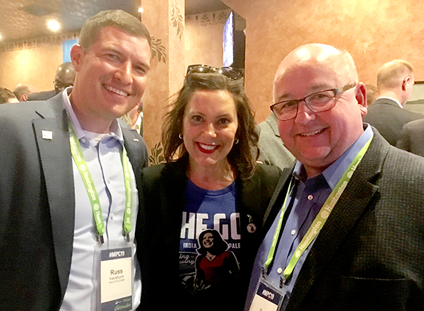 HFC President Russ Kavalhuna, Governor Gretchen Whitmer, and Macomb Community College President Jim Sawyer at the Mackinac Policy Conference.