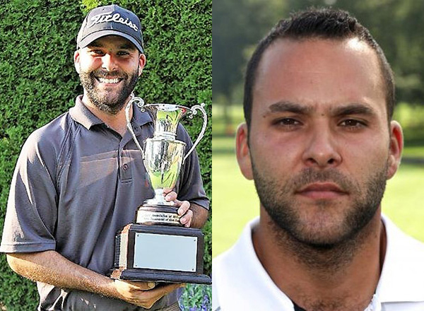 Left: Kieronski as MCCAA champion in 2016; right: Kieronski as HFC head golf coach.