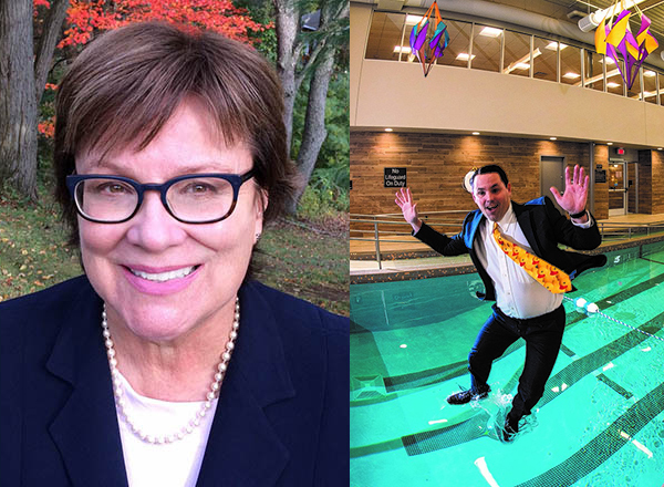 Margaret Kelly, left, was the creative mind behind CRC president/CEO Steve Fetyko's fully-clothed dive into a pool (right).