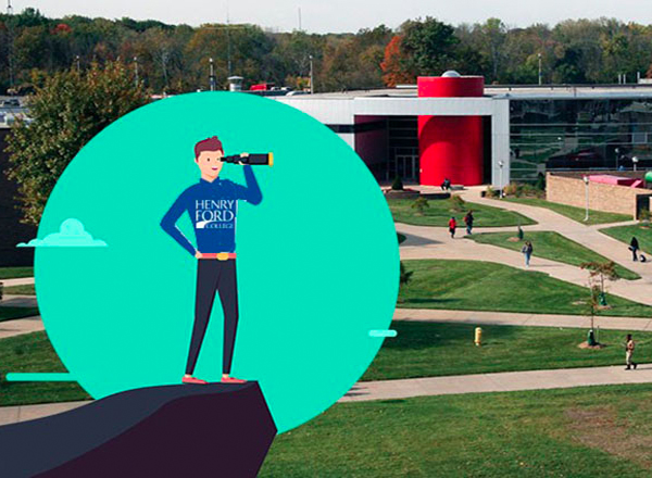 Image of character w/ telescope superimposed on photo of HFC campus