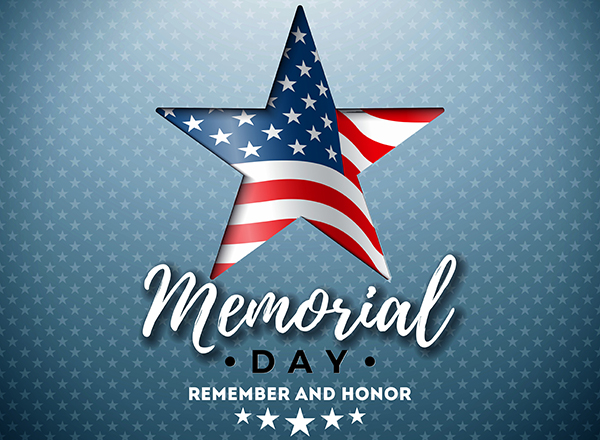 Memorial Day graphic, stars and stripes on starred background