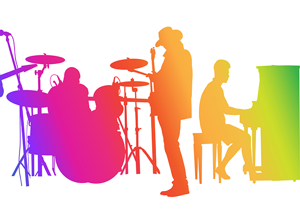 graphic of musicians in rainbow colors