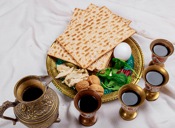 Food and beverage items from Passover Seder meal
