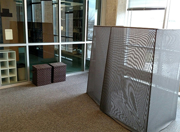 The Quiet Reflection Room in the Eshleman Library has recently been remodeled. Upgrades include new carpeting, a privacy screen, shoe carrel, and two boxes to hold personal items.